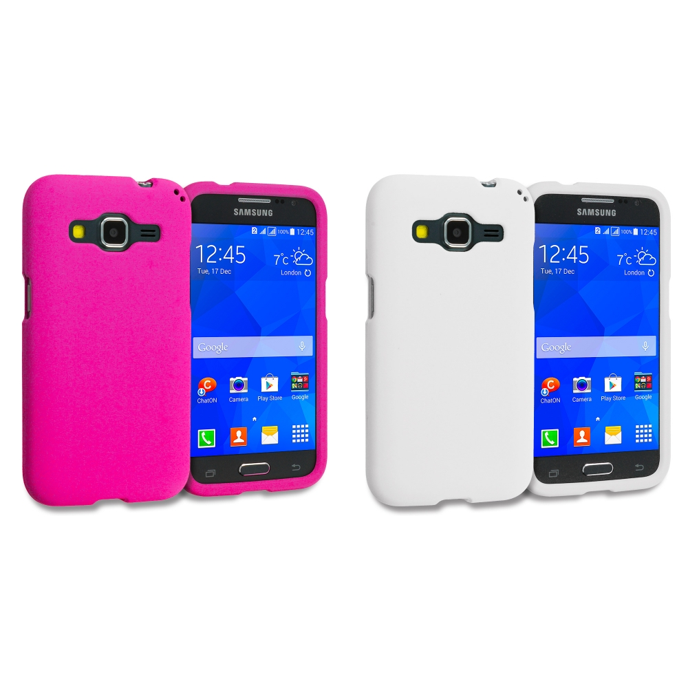 Samsung Galaxy Prevail LTE Core Prime G360P / Prevail LTE 2 in 1 Combo Bundle Pack - White Pink Hard Rubberized Case Cover