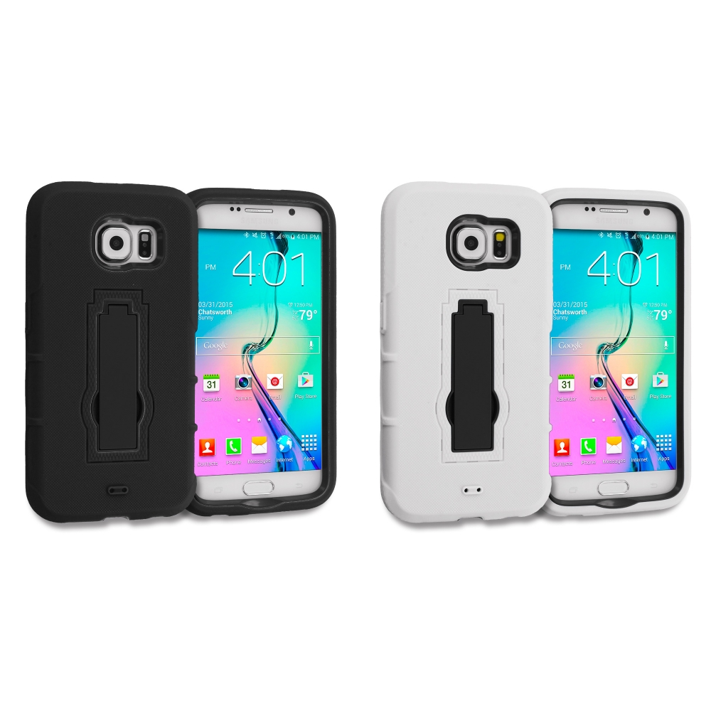 Samsung Galaxy S6 Combo Pack : Black / Black Hybrid Heavy Duty Hard Soft Case Cover with Kickstand