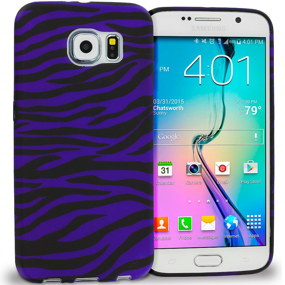 Samsung Galaxy S6 Black / Purple Zebra TPU Design Soft Rubber Case Cover