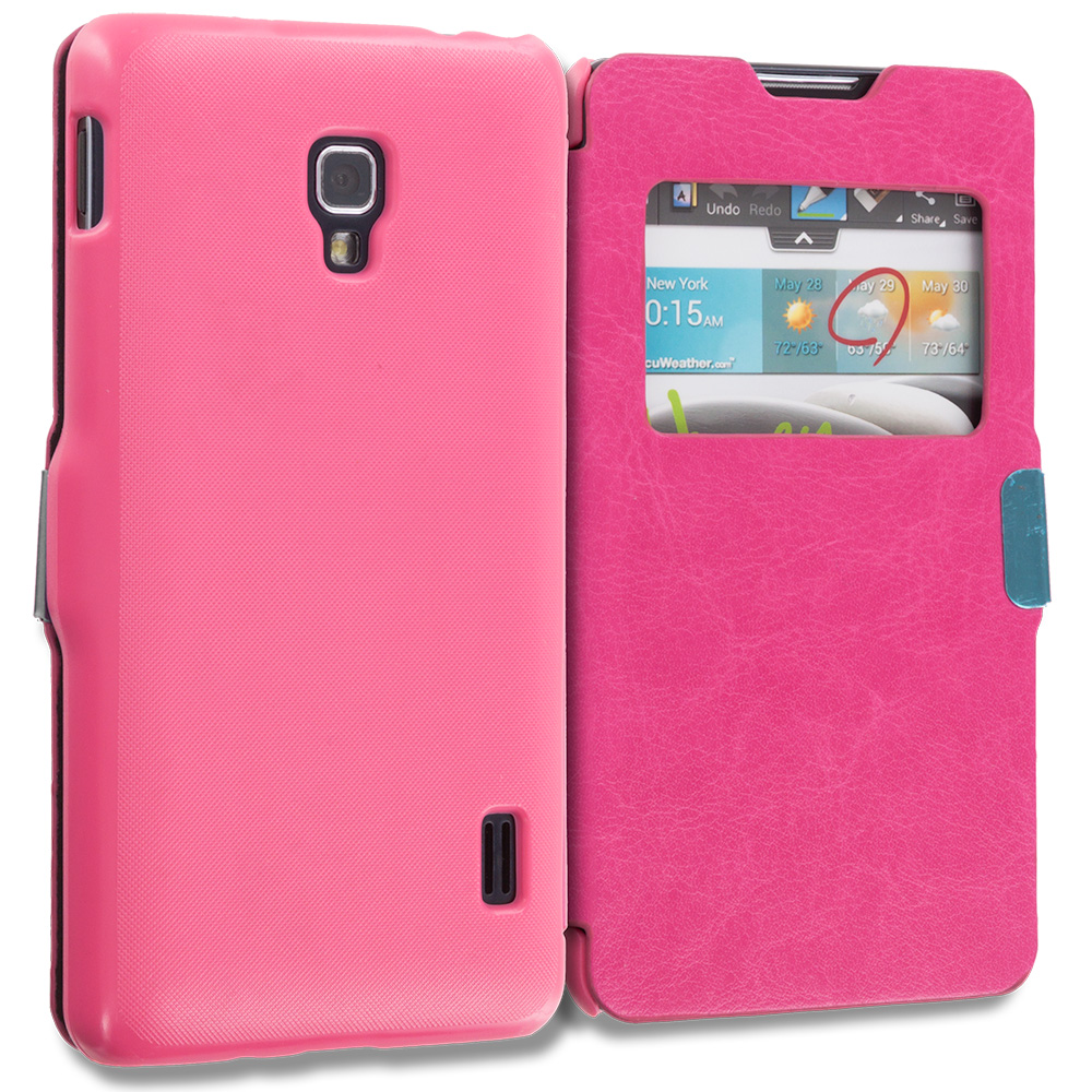 LG Transpyre Tribute F60 Hot Pink Window Magnetic Flip Wallet Case Cover Pouch
