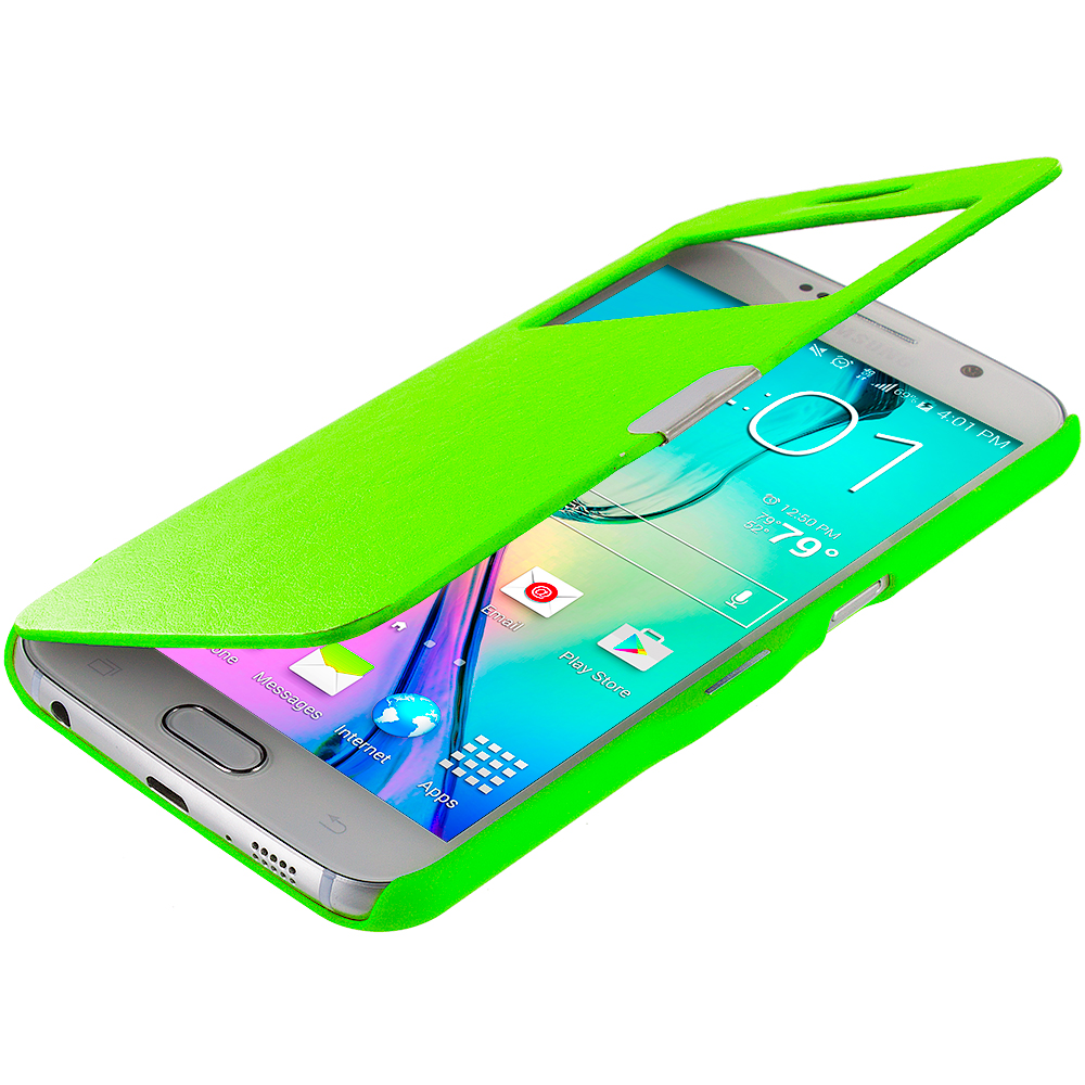 Samsung Galaxy S6 Combo Pack : White Window Magnetic Flip Wallet Case Cover Pouch : Color Neon Green Window