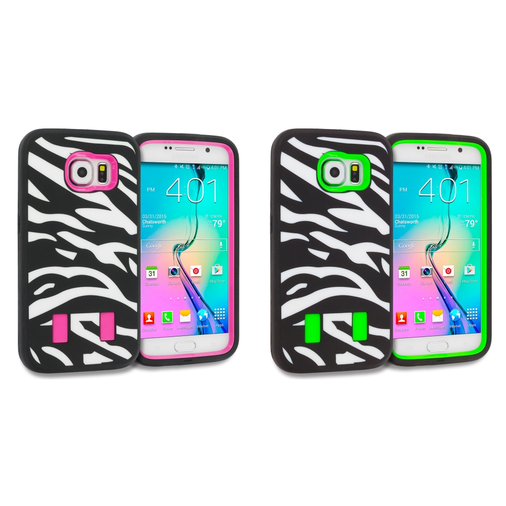 Samsung Galaxy S6 Combo Pack : Zebra Hot Pink Hybrid Deluxe Hard/Soft Case Cover