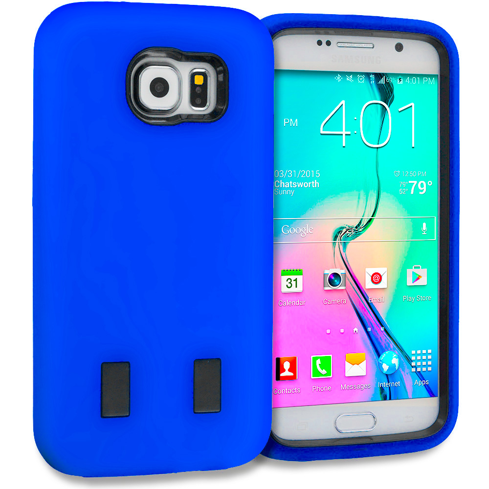 Samsung Galaxy S6 Combo Pack : Red / Black Hybrid Deluxe Hard/Soft Case Cover : Color Blue / Black