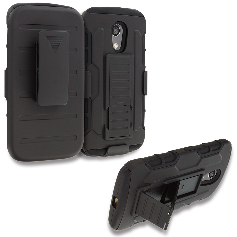 Motorola Moto G 2nd Gen 2014 Black Hybrid Rugged Robot Armor Heavy Duty Case Cover with Belt Clip Holster
