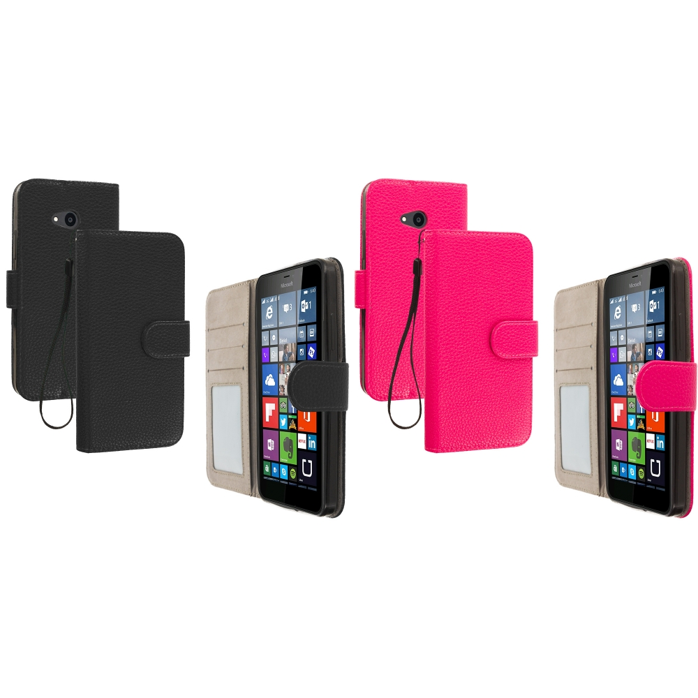 Microsoft Lumia 640 2 in 1 Combo Bundle Pack - Black Pink Leather Wallet Pouch Case Cover with Slots
