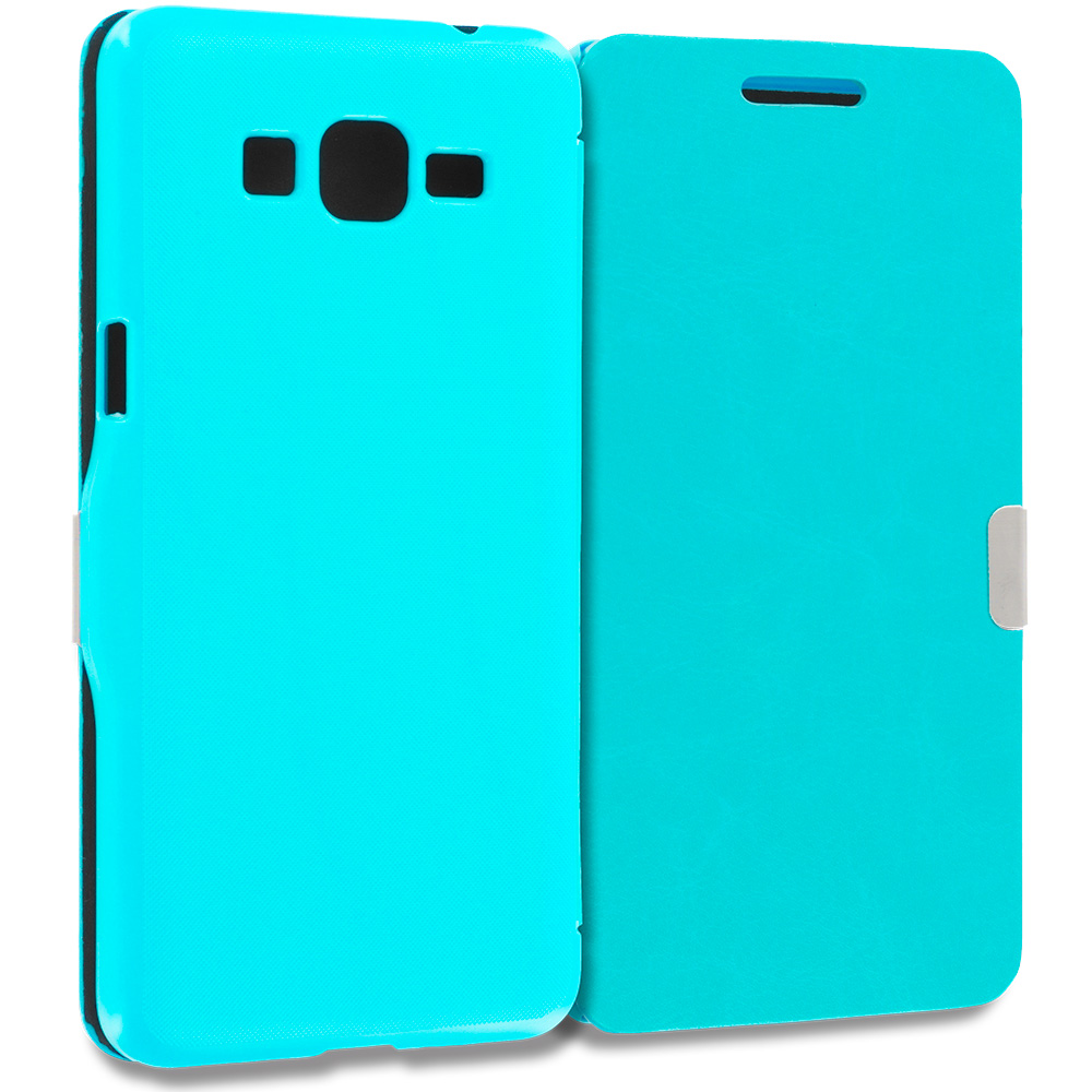 Samsung Galaxy Grand Prime LTE G530 Baby Blue Magnetic Flip Wallet Case Cover Pouch