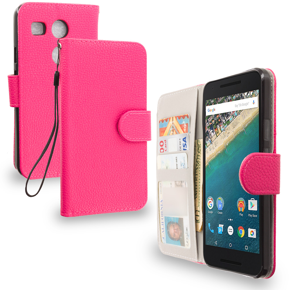 LG Google Nexus 5X Hot Pink Leather Wallet Pouch Case Cover with Slots