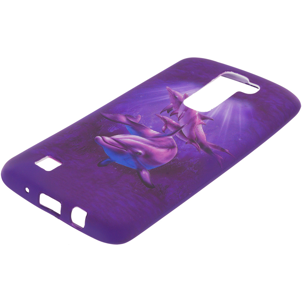 LG Tribute 5 K7 Purple Dolphin TPU Design Soft Rubber Case Cover