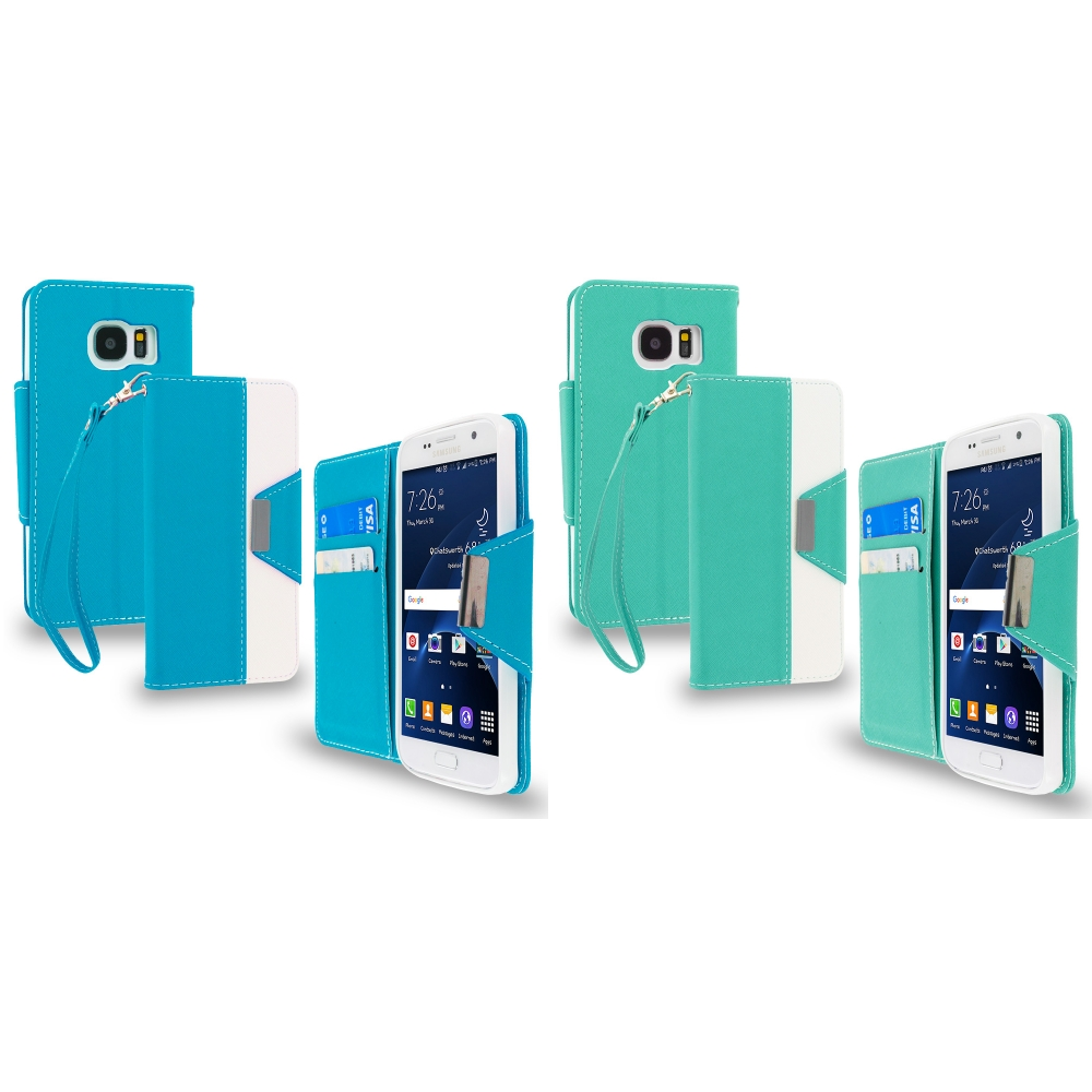 Samsung Galaxy S7 Combo Pack : Baby Blue Wallet Magnetic Metal Flap Case Cover With Card Slots