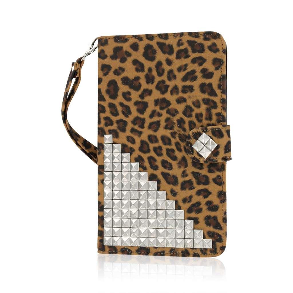 Samsung Galaxy Tab 4 7.0 - Studded Leopard MPERO FLEX FLIP Wallet Case Cover