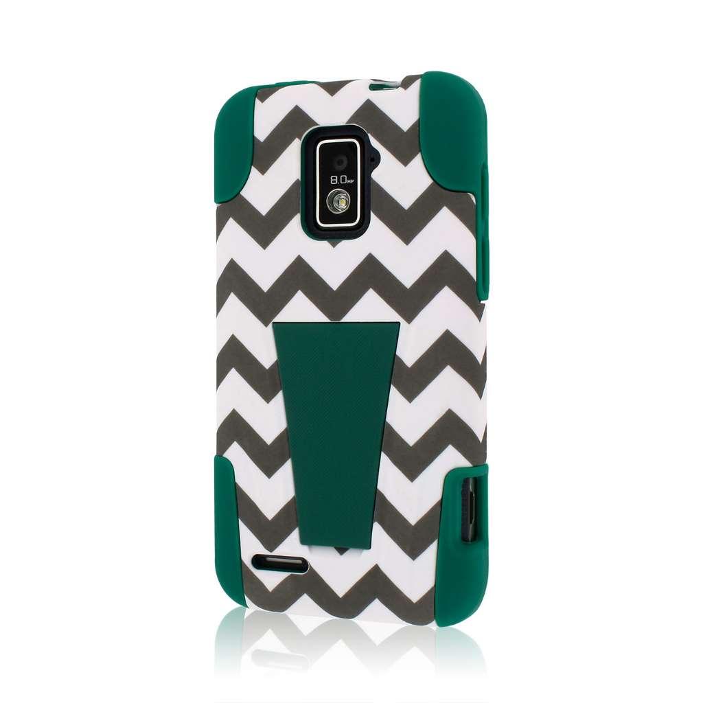 ZTE Warp 4G N9510 - Teal Chevron MPERO IMPACT X - Kickstand Case Cover
