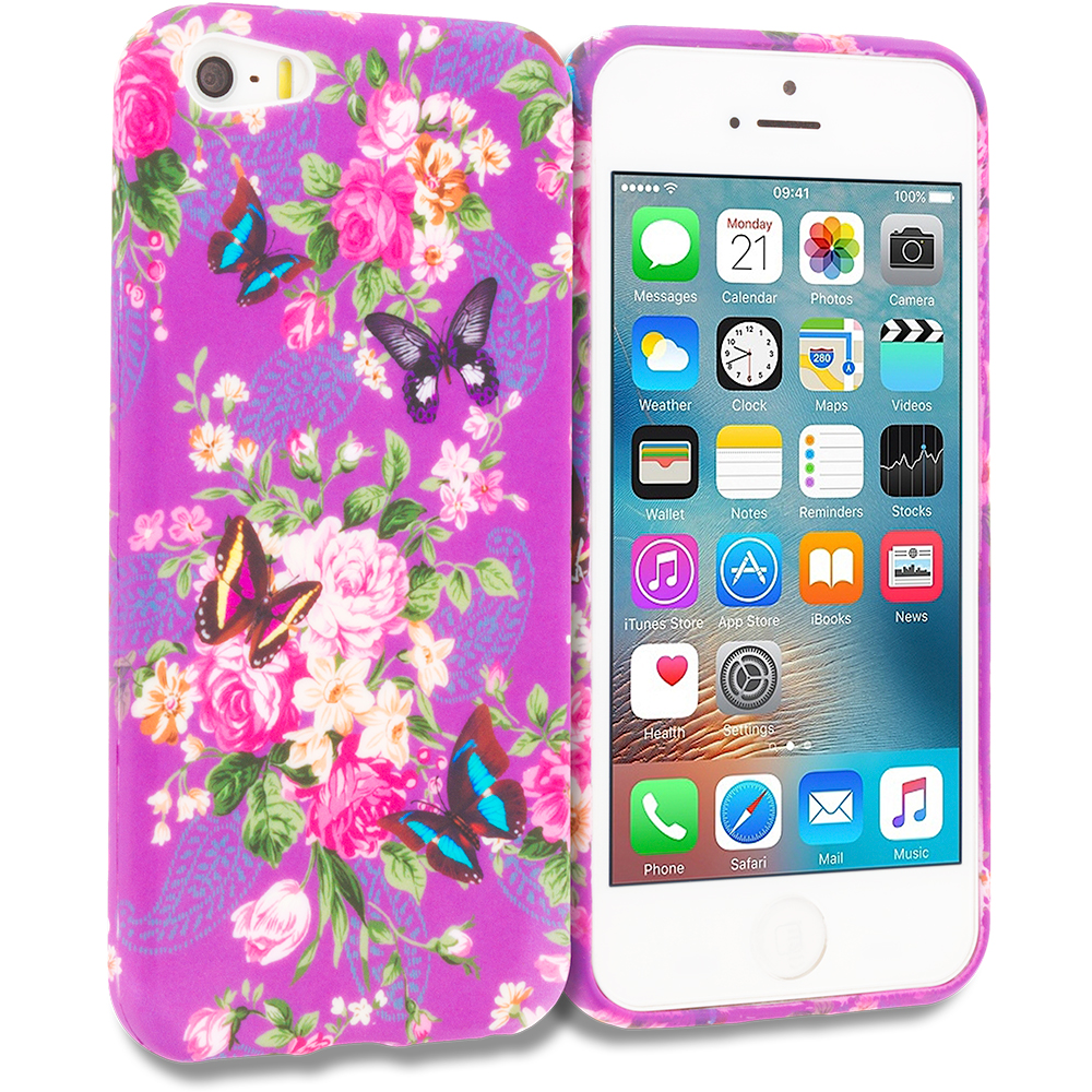 Apple iPhone 5/5S/SE Purple Mixed Flower TPU Design Soft Rubber Case Cover