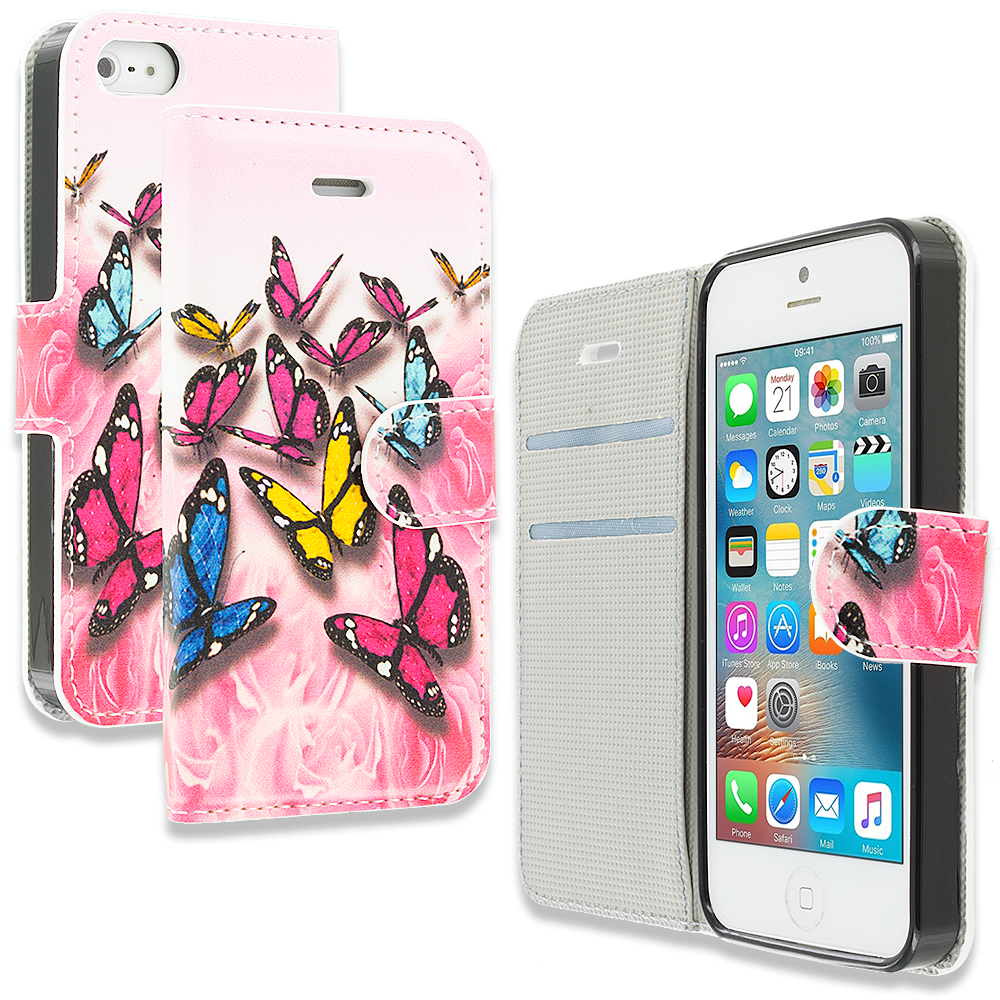 Apple iPhone 5/5S/SE Combo Pack : Pink Colorful Butterfly Design Wallet Flip Pouch Case Cover with Credit Card ID Slots : Color Pink Colorful Butterfly