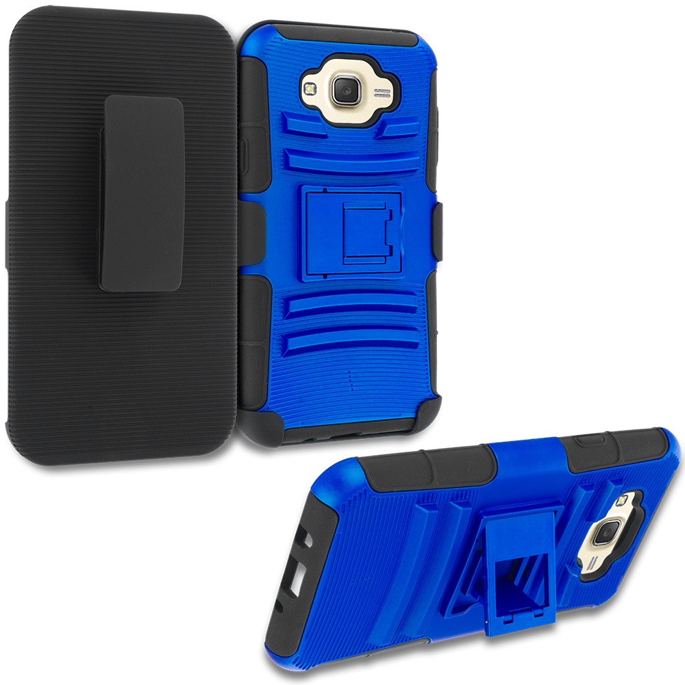 Samsung Galaxy J7 Blue Hybrid Heavy Duty Rugged Case Cover with Belt Clip Holster