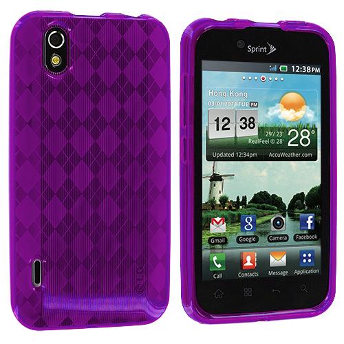 LG Optimus Black P970 / Marquee Purple Checkered TPU Rubber Skin Case Cover