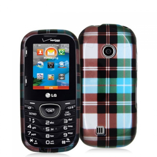 LG Cosmos 2 VN251 Blue Checkered Design Crystal Hard Case Cover