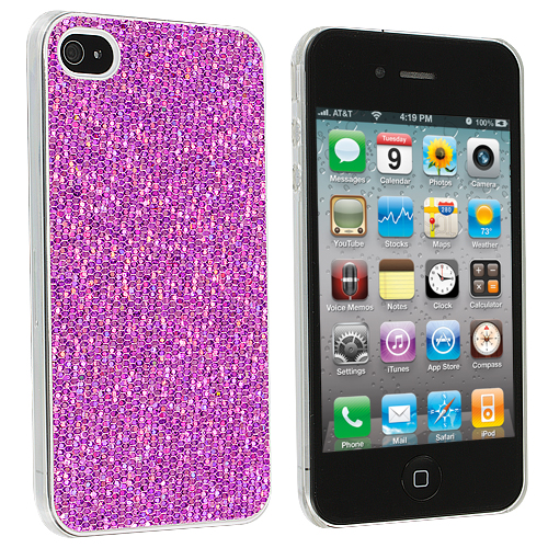 Apple iPhone 4 / 4S Purple Glitter Case Cover