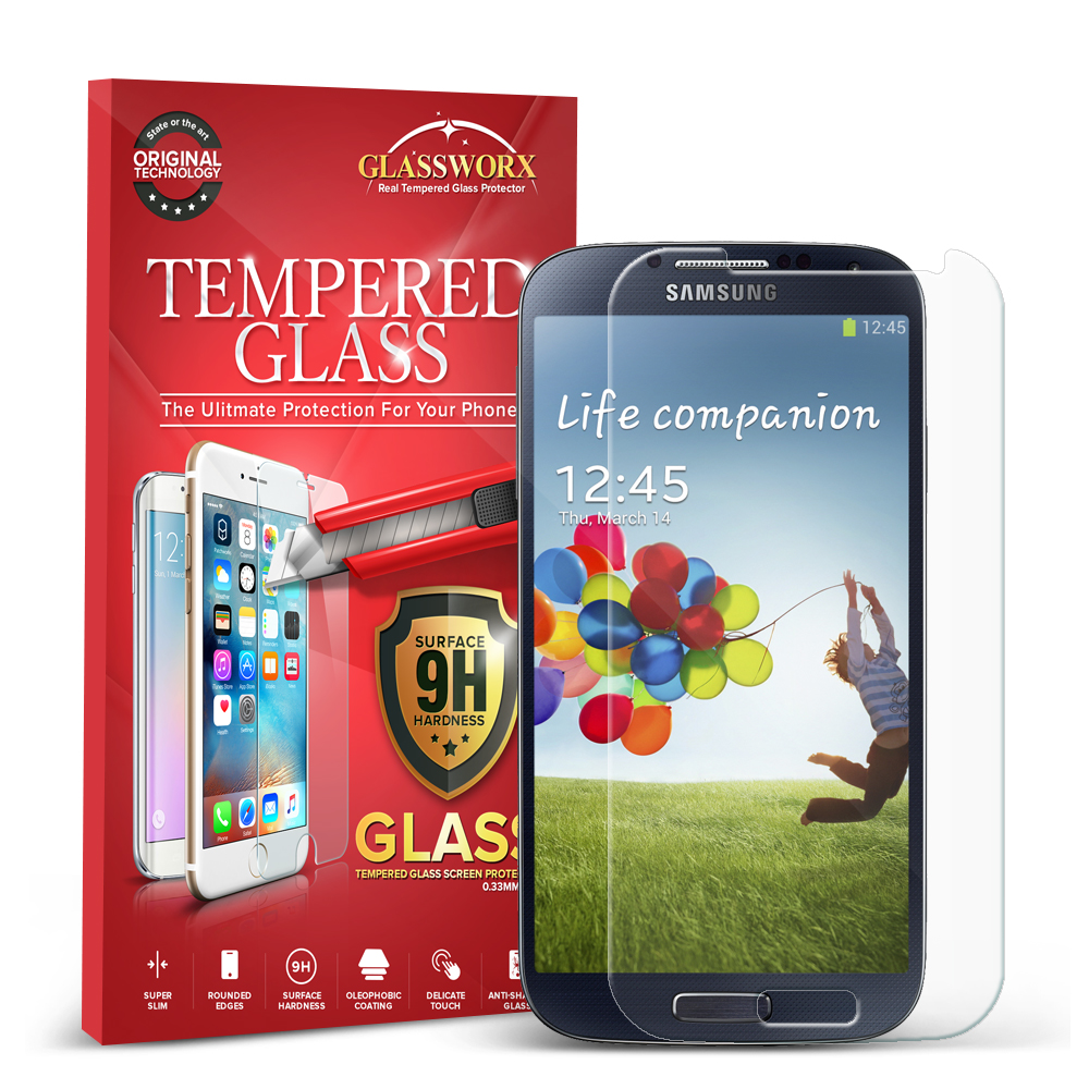Samsung Galaxy S4 Clear GlassWorX HD Tempered Glass Screen Protector