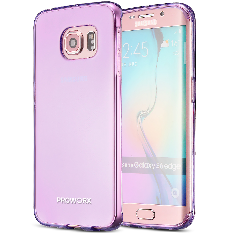 Samsung Galaxy S6 Edge Purple ProWorx Ultra Slim Thin Scratch Resistant TPU Silicone Case Cover