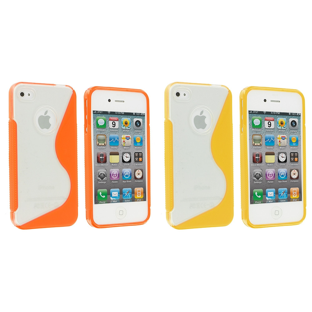 Apple iPhone 4 / 4S 2 in 1 Combo Bundle Pack - Yellow / Orange S-Line TPU Rubber Skin Case Cover