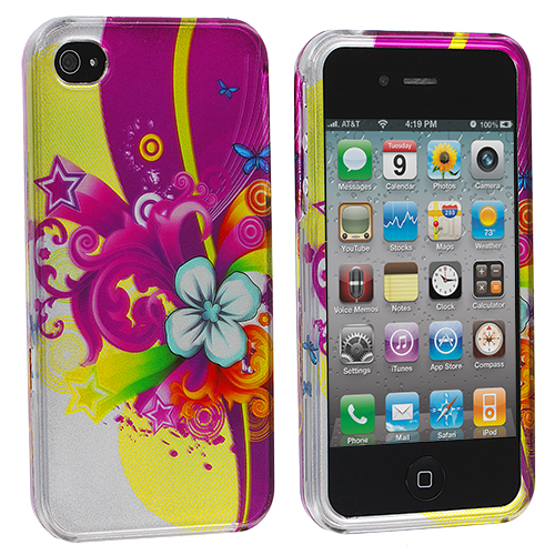 Apple iPhone 4 Love Flower Design Crystal Hard Case Cover