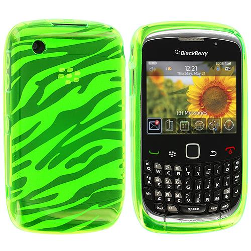 BlackBerry Curve 8520 8530 3G 9300 9330 Green Zebra TPU Rubber Skin Case Cover