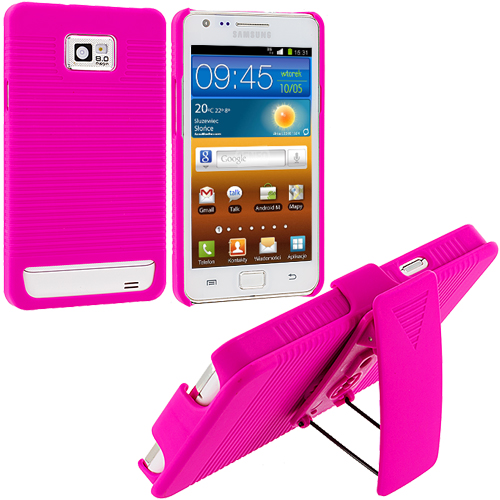 Samsung Galaxy S2 i9100 Hot Pink Hard Rubberized Belt Clip Holster Case Cover