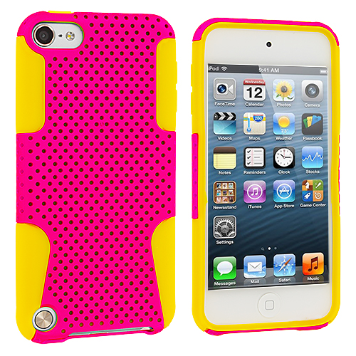 Apple iPod Touch 5th 6th Generation 2 in 1 Combo Bundle Pack - Yellow / Pink Hybrid Mesh Hard/Soft Case Cover : Color Yellow / Pink