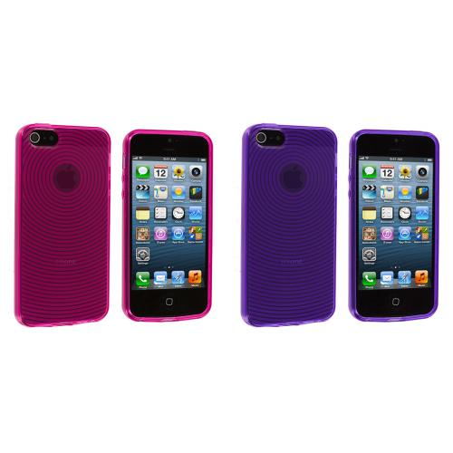 Apple iPhone 5/5S/SE 2 in 1 Combo Bundle Pack - Hot Pink Purple Fingerprint TPU Rubber Skin Case Cover