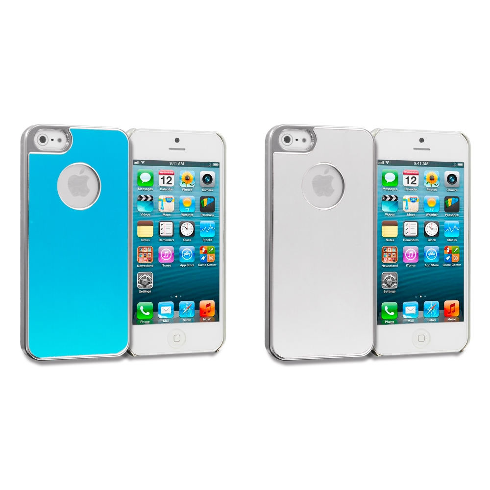 Apple iPhone 5 Combo Pack : Baby Blue Aluminum Metal Hard Case Cover
