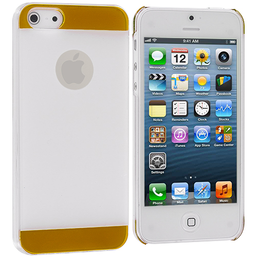Apple iPhone 5 White / Yellow Crystal Hard Back Cover Case