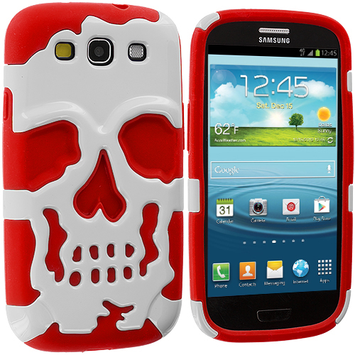 Samsung Galaxy S3 Red / White Hybrid Skull Hard/Soft Case Cover