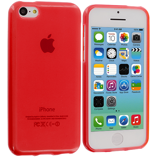 Apple iPhone 5C 2 in 1 Combo Bundle Pack - Clear Red Transparent Crystal Hard Back Cover Case : Color Red
