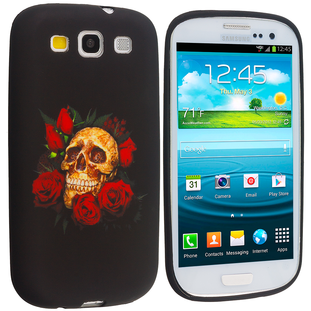 Samsung Galaxy S3 Rose Skull TPU Design Soft Case Cover