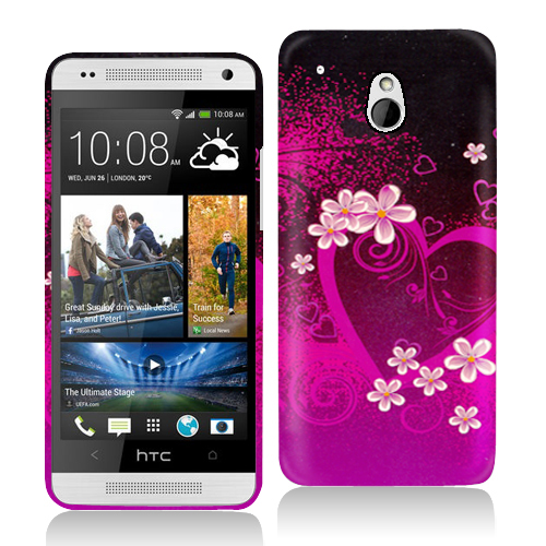 HTC One Mini Purple Love Hard Rubberized Design Case Cover