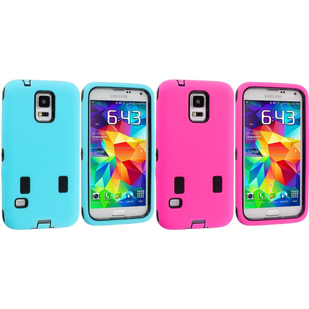 Samsung Galaxy S5 2 in 1 Combo Bundle Pack - Baby Blue / Pink Hybrid Deluxe Hard/Soft Case Cover