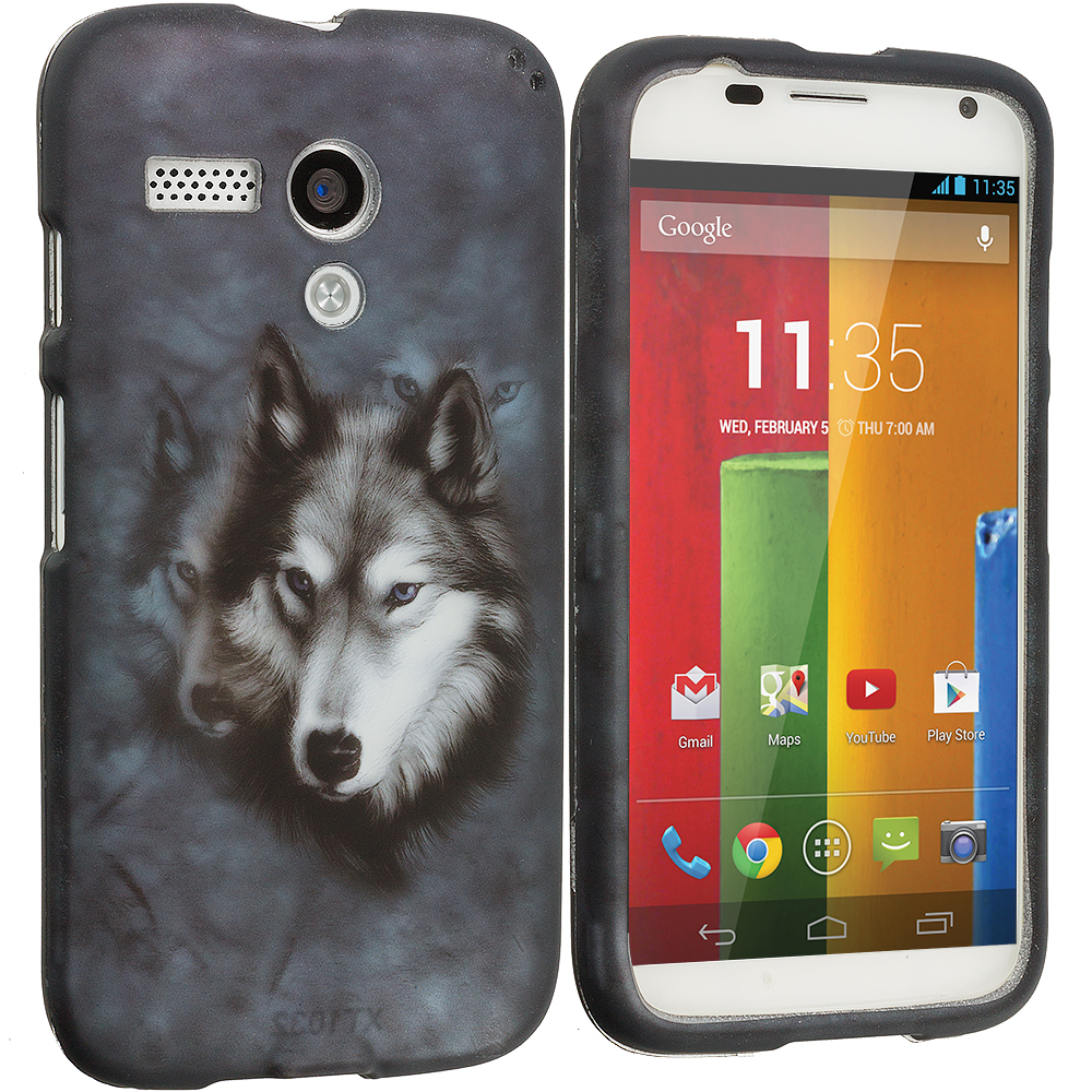 Motorola Moto G Wolf 2D Hard Rubberized Design Case Cover