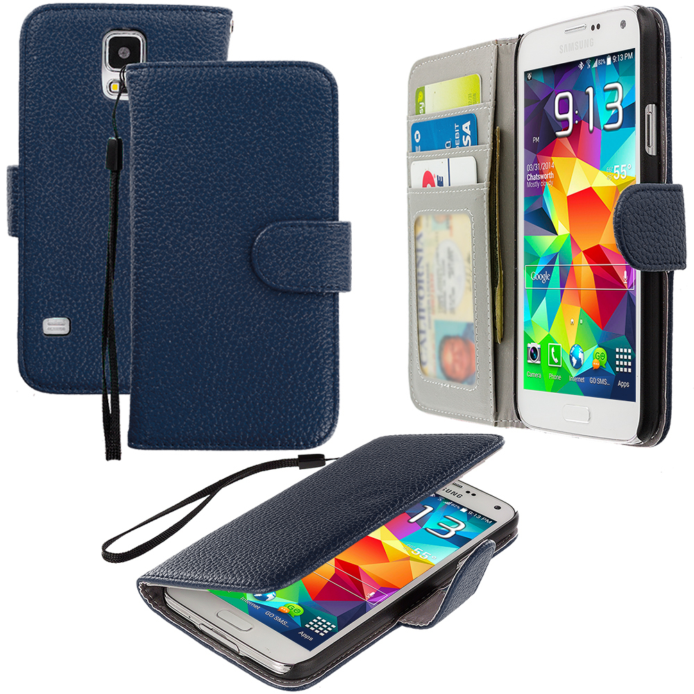 Samsung Galaxy S5 Blue Leather Wallet Pouch Case Cover with Slots