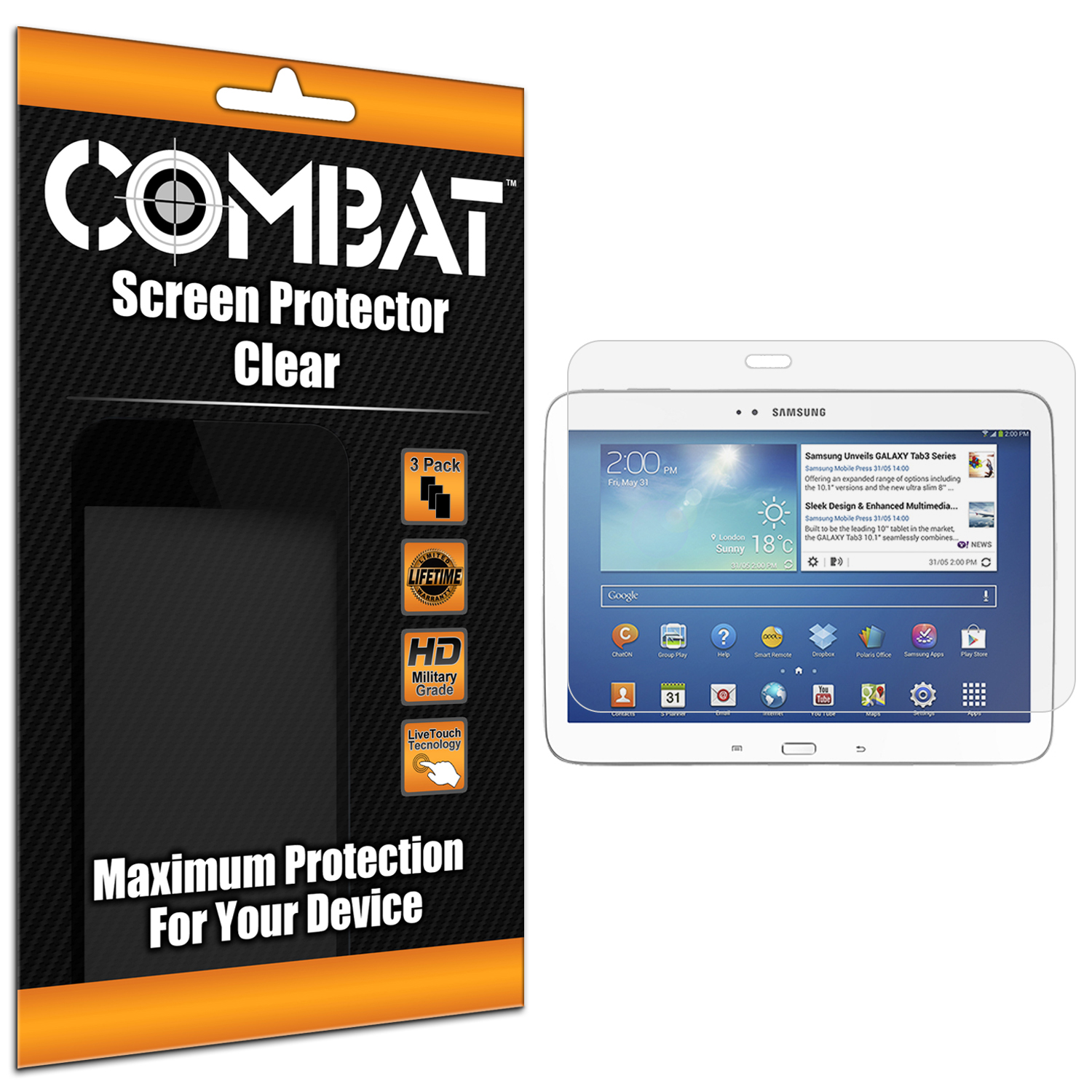Samsung Galaxy Tab 3 10.1 Combat 3 Pack HD Clear Screen Protector