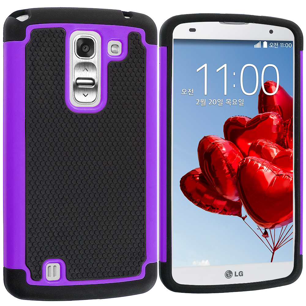 LG G Pro 2 Black / Purple Hybrid Rugged Hard/Soft Case Cover
