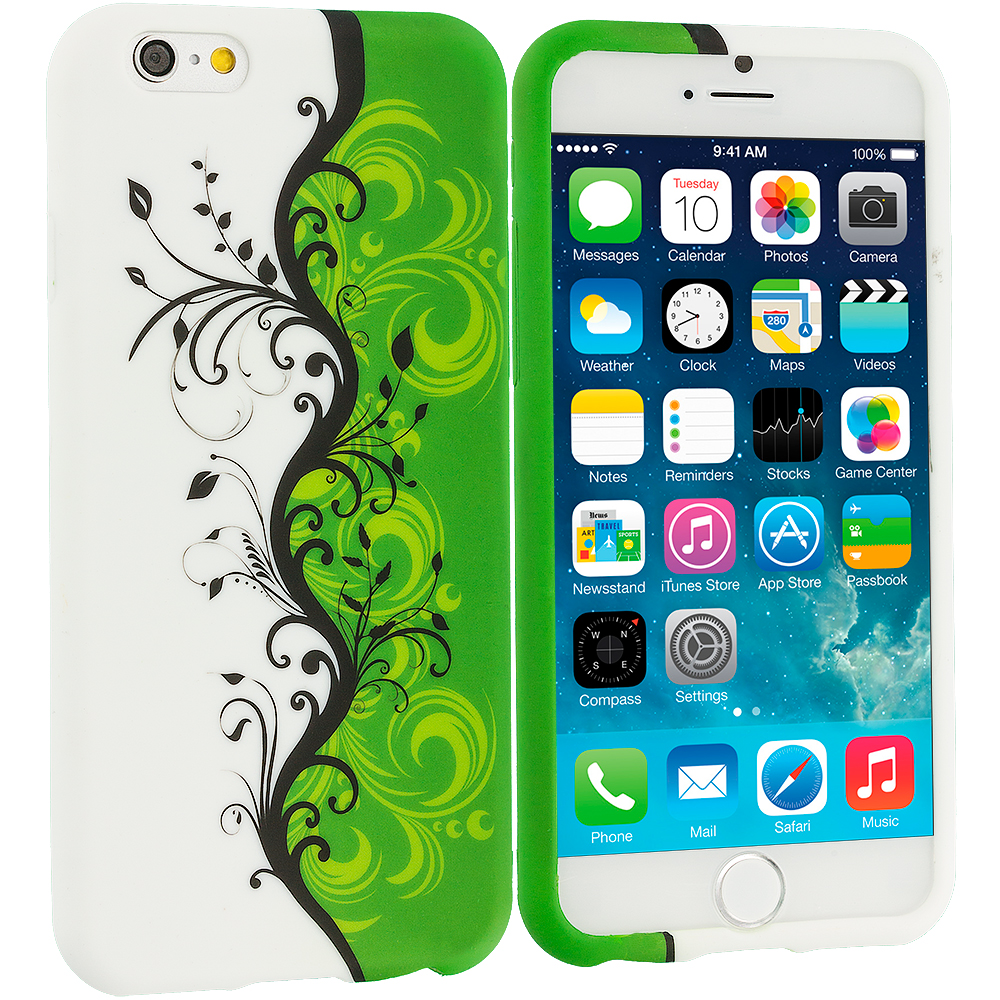 Apple iPhone 6 6S (4.7) Green / White Swirl TPU Design Soft Case Cover