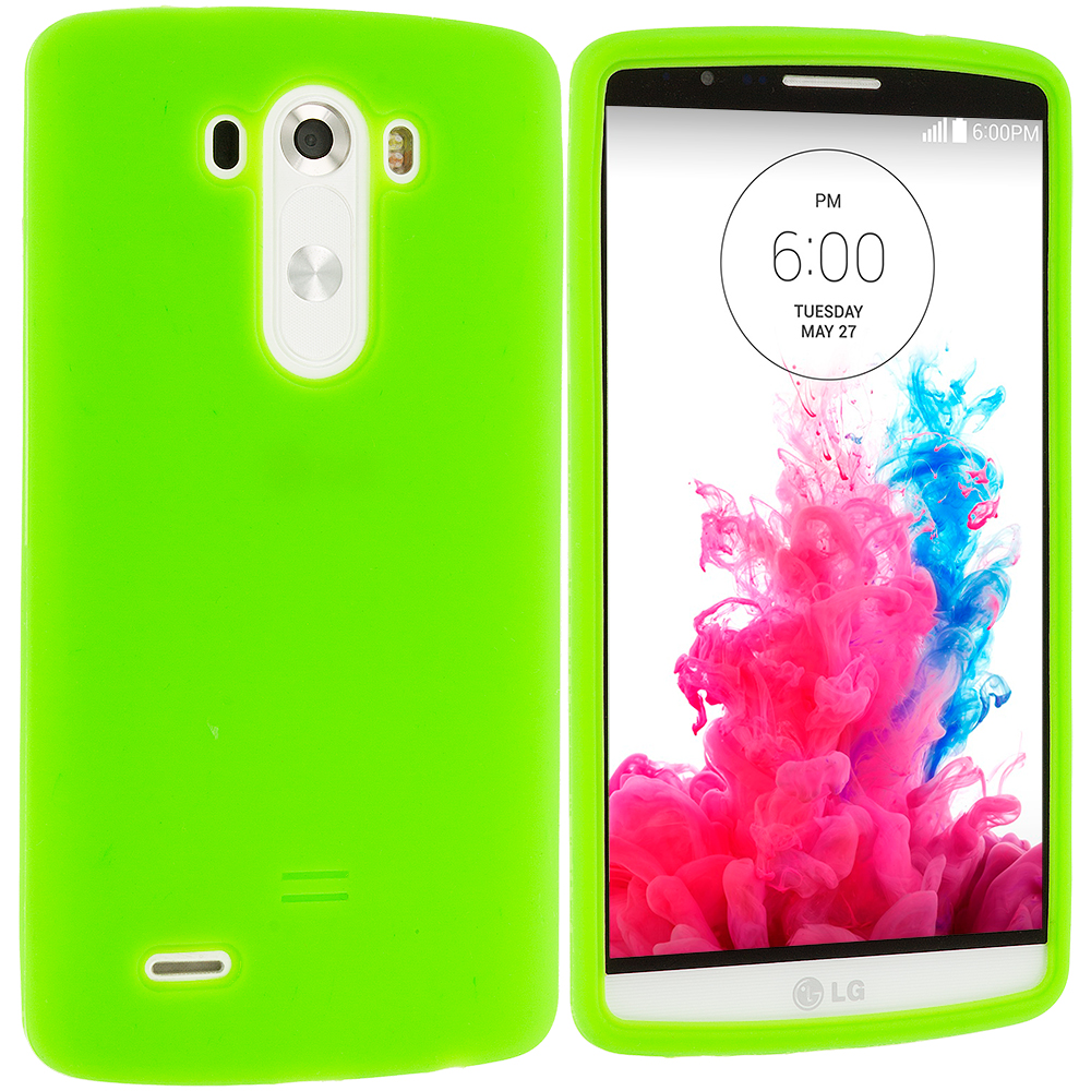 LG G3 Neon Green Silicone Soft Skin Case Cover