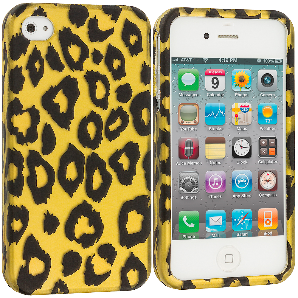Apple iPhone 4 / 4S Black Leopard on Golden 2D Hard Rubberized Design Case Cover