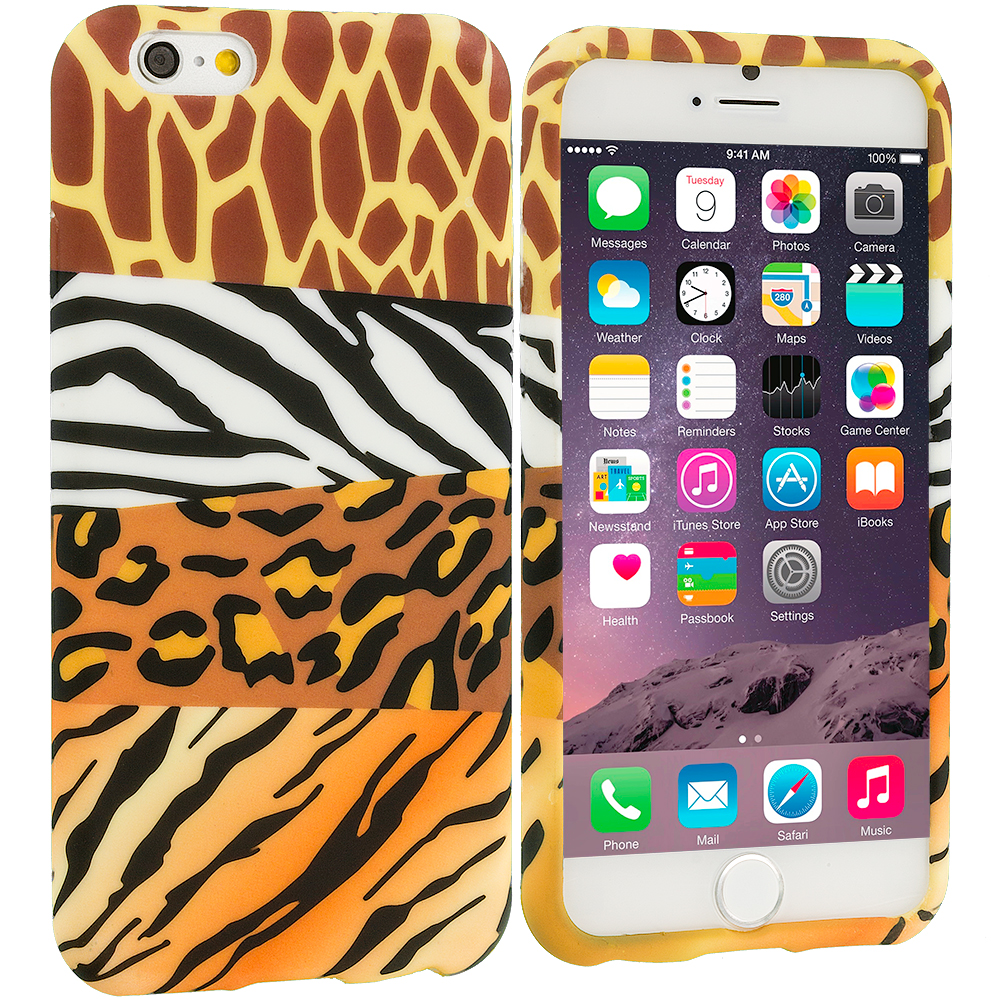 Apple iPhone 6 6S (4.7) 8 in 1 Combo Bundle Pack - TPU Design Soft Case Cover : Color Mix Animal Skin