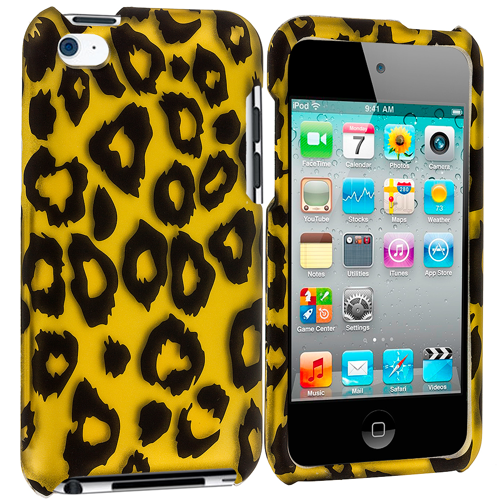 Apple iPod Touch 4th Generation Black Leopard on Golden 2D Hard Rubberized Design Case Cover