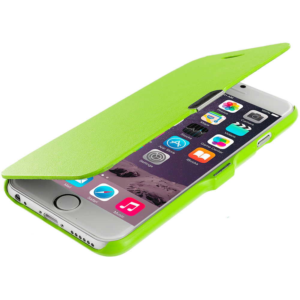 Apple iPhone 6 Plus Neon Green Magnetic Flip Wallet Case Cover Pouch