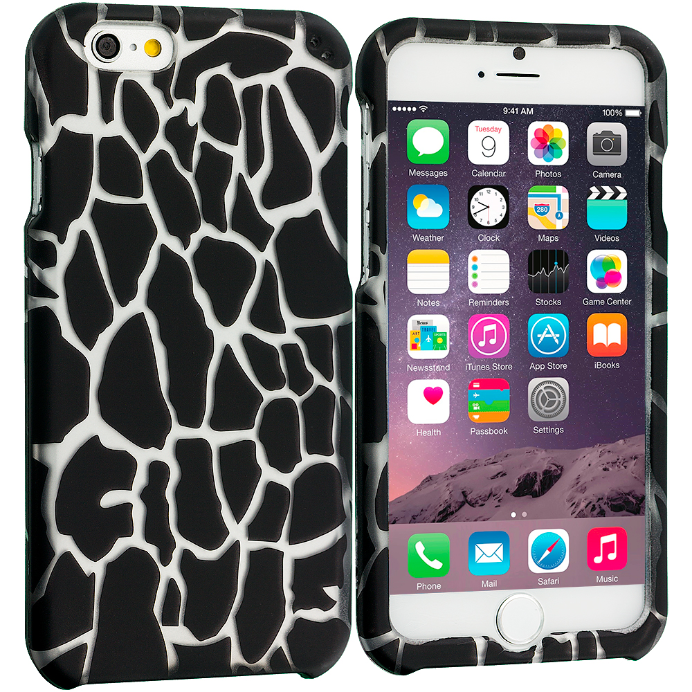 Apple iPhone 6 6S (4.7) Black Giraffe 2D Hard Rubberized Design Case Cover