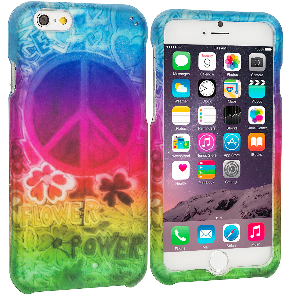 Apple iPhone 6 Plus 6S Plus (5.5) Flower Power 2D Hard Rubberized Design Case Cover