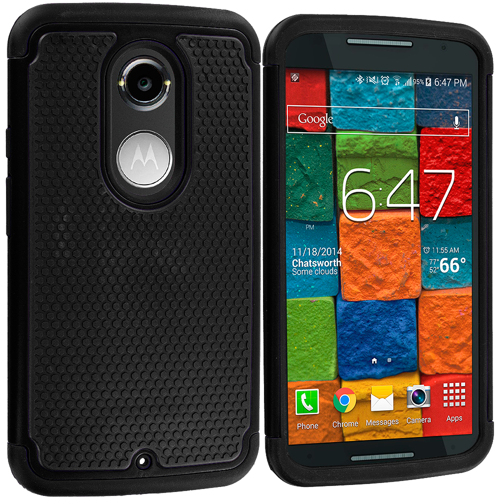 Motorola Moto X 2nd Gen Black / Black Hybrid Rugged Grip Shockproof Case Cover
