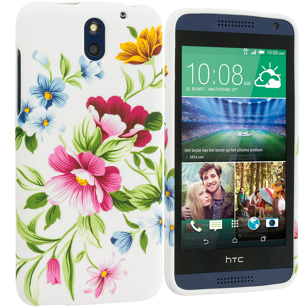 HTC Desire 610 Flower Painting TPU Design Soft Rubber Case Cover